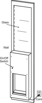 Diagram of patio dog door.